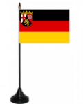 Rhineland-Palatinate Desk / Table Flag with plastic stand and base.